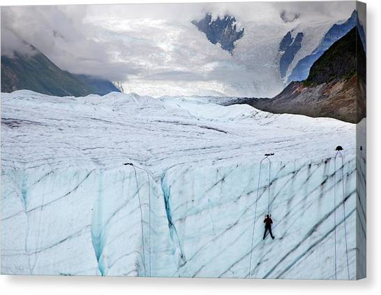 Ice Climbing Canvas Print - Ice Climber On A Glacier by Jim West