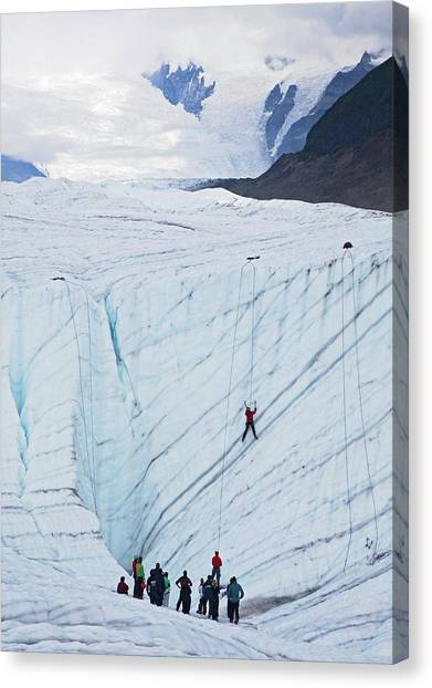 Ice Climbing Canvas Print - Ice-climbing Class On A Glacier by Jim West