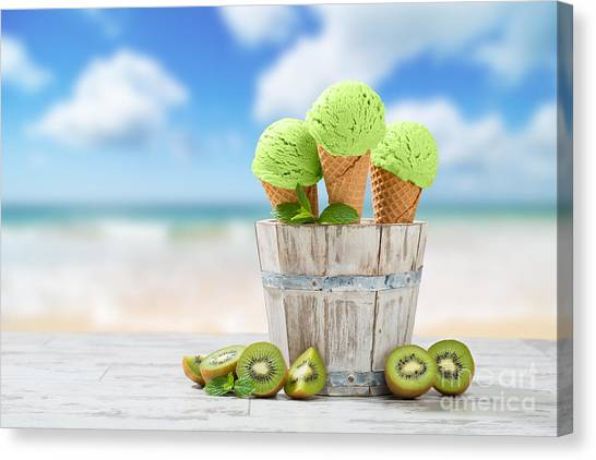 Kiwis Canvas Print - Ice Cream At The Beach by Amanda Elwell
