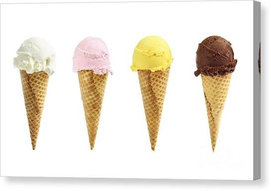 Mangos Canvas Print - Ice Cream In Sugar Cones by Elena Elisseeva