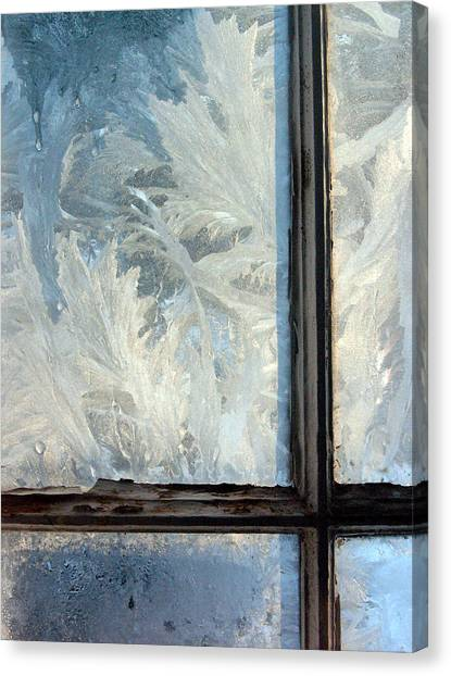 Windowpane Canvas Print - Ice Crystals On Windowpanes by Panoramic Images