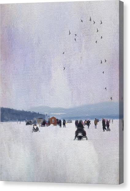 Ice Fishing And Snowmobiles  Canvas Print