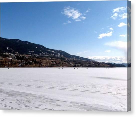 Oyama Canvas Print - Ice Fishing On Wood Lake by Will Borden