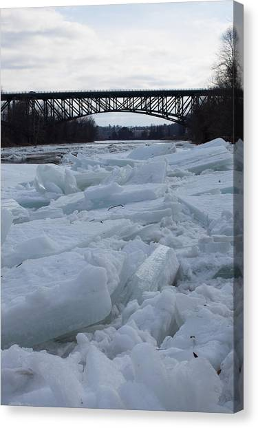 Ice Jam I-91 Bridge Brattleboro Vt Canvas Print