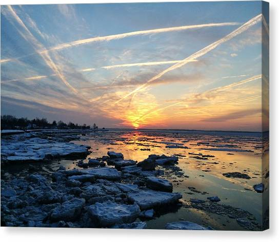 Ice On The Delaware River Canvas Print
