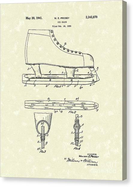 Figure Skating Canvas Print - Ice Skate 1941 Patent Art by Prior Art Design