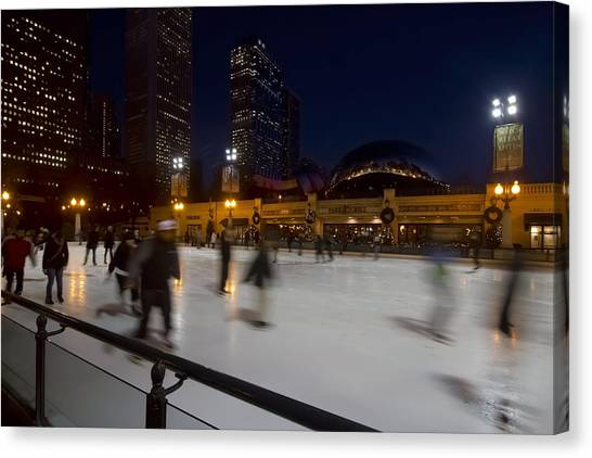 Cloudgate Canvas Print - Ice Skaters By The  Bean by Sven Brogren