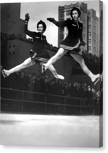 Skating Canvas Print - Ice Skaters Perform In Ny by Underwood Archives