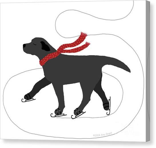Labrador Canvas Print - Ice Skating Black Labrador by Amy Reges