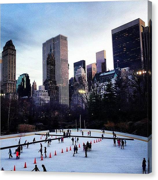 Ice Skating Canvas Print - Ice Skating In Central Park #nyc by Susan OToole