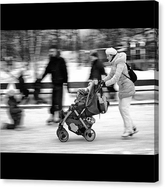 Ice Skating Canvas Print - #ice #skating #mtlphotography  #mtl by Jonathan Nouvellon