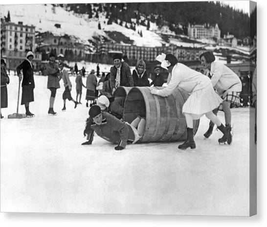Barrel Racing Canvas Print - Ice Skating Obstacle Race by Underwood Archives
