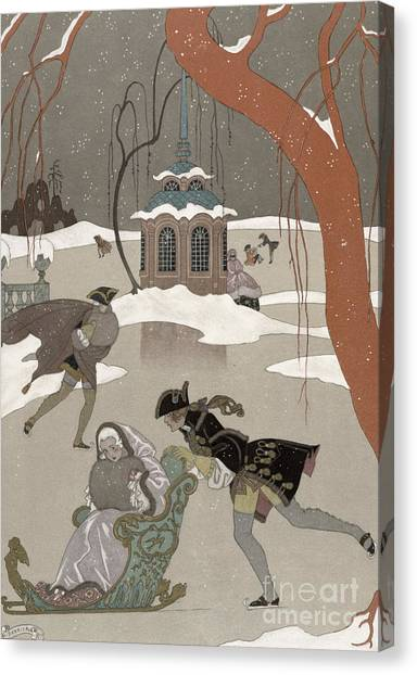 Wetlands Canvas Print - Ice Skating On The Frozen Lake by Georges Barbier