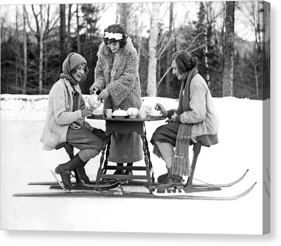 Iced Tea Canvas Print - Ice Skating Tea Time by Underwood Archives