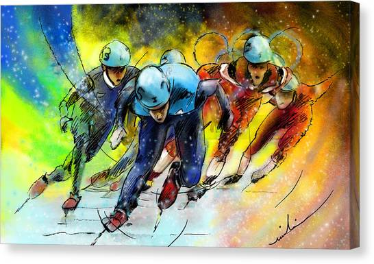 Speed Skating Canvas Print - Ice Speed Skating 01 by Miki De Goodaboom