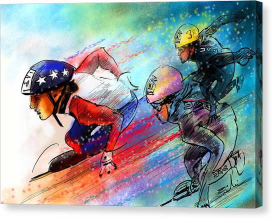 Speed Skating Canvas Print - Ice Speed Skating 02 by Miki De Goodaboom
