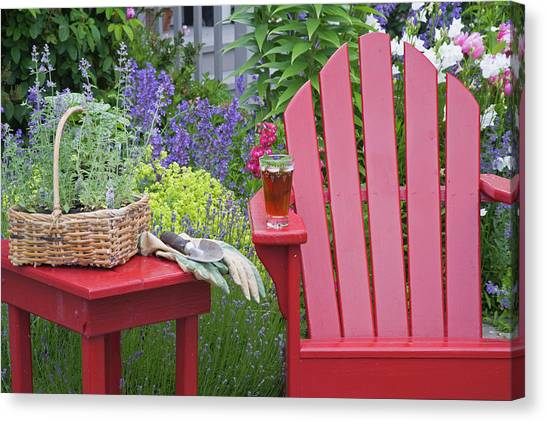 Iced Tea Canvas Print - Ice Tea Rests On Red Chair While by Jaynes Gallery