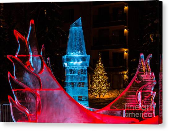 Ice Tower And Xmas Tree Canvas Print