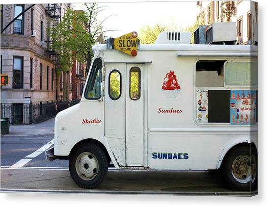 Icecream Truck On City Street Canvas Print