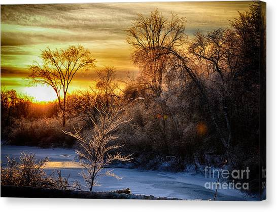 Iced Sunset Canvas Print by Wanda Clowater