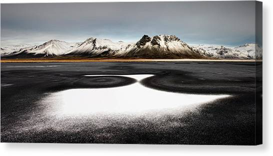 Black Sand Canvas Print - Iceland First Snow by Liloni Luca