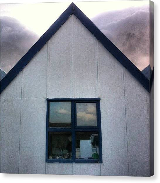 White House Canvas Print - #iceland #house #white #blue by Oprea George