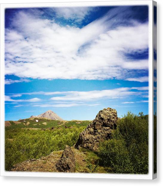 Rock Canvas Print - Iceland Landscape And Blue Sky by Matthias Hauser