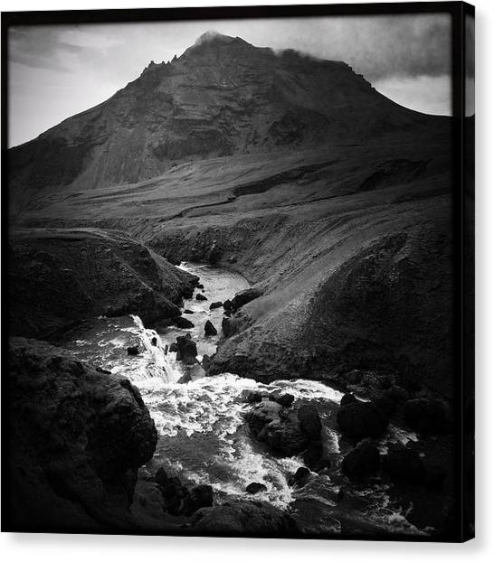 Landscape Canvas Print - Iceland Landscape With River And Mountain Black And White by Matthias Hauser