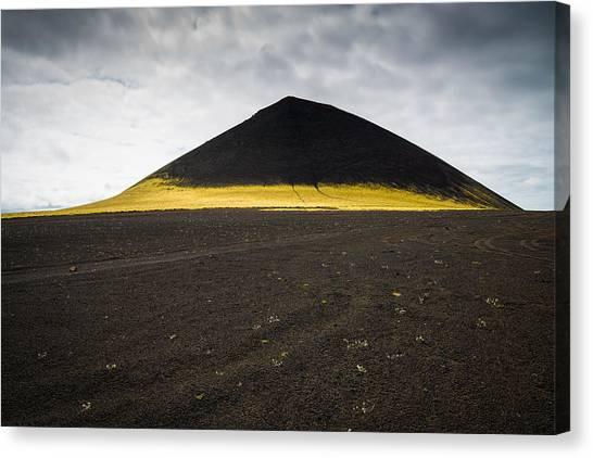 Iceland Minimalist Landscape Brown Black Yellow Canvas Print