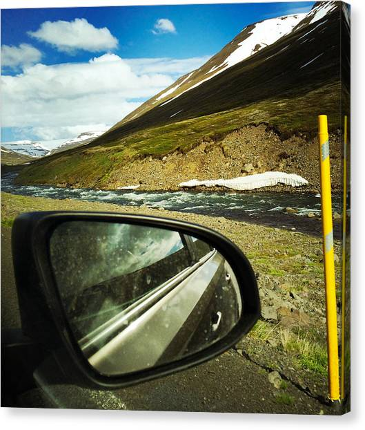 Trip Canvas Print - Iceland Roadtrip - Landscape And Rear Mirror Of Car by Matthias Hauser
