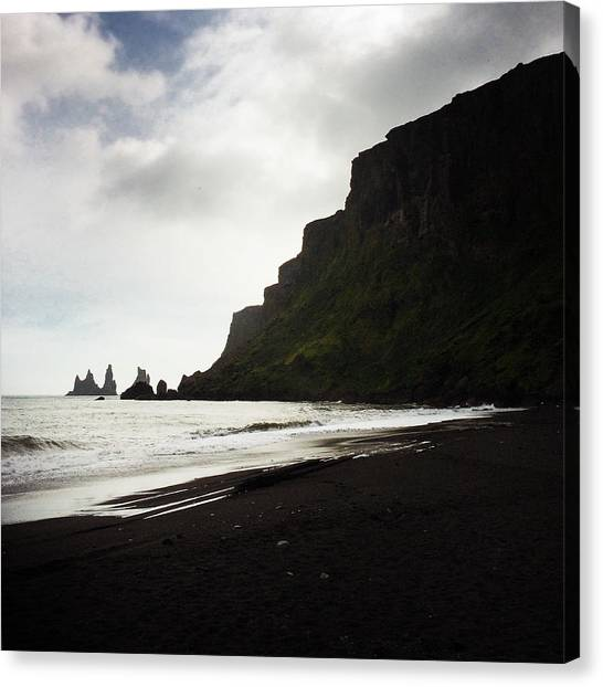 Beach Cliffs Canvas Print - Iceland Vik Reynisdrangar Cliffs And Ocean by Matthias Hauser
