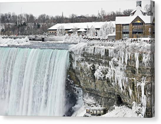 Icicles Over The Falls Canvas Print