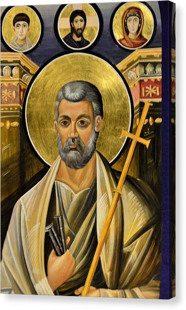 Icon Of Holy Apostle Peter Canvas Print