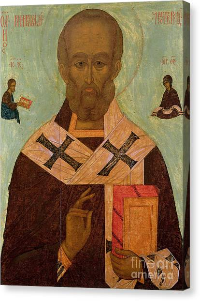Russian Blue Canvas Print - Icon Of St. Nicholas by Russian School