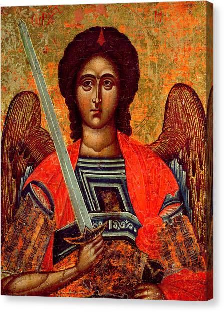 Orthodox Art Canvas Print - Icon Of The Angel Michael by Greek School