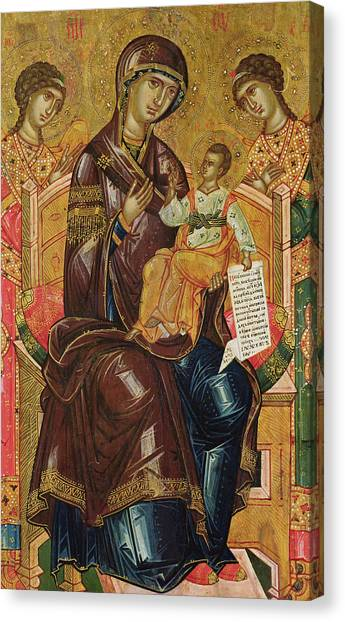 Byzantine Canvas Print - Icon Of The Virgin And Child With Archangels And Prophets by Longin