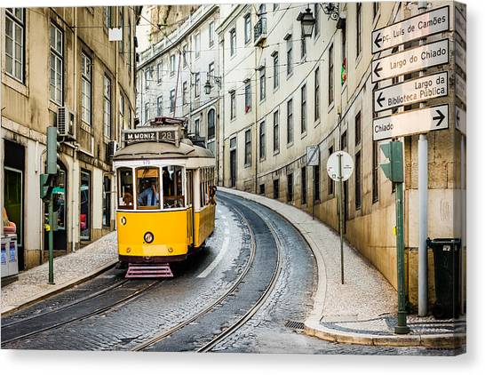 Travel Canvas Print - Iconic Lisbon Streetcar No. 28 IIi by Marco Oliveira