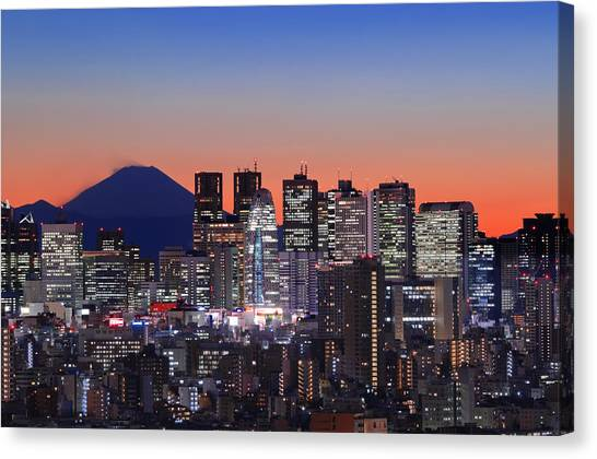 Tokyo Skyline Canvas Print - Iconic Mt Fuji With Shinjuku Skyscrapers by Duane Walker