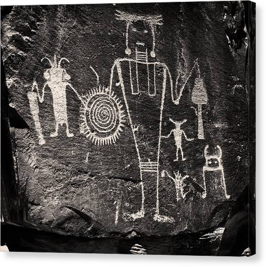 Iconic Petroglyphs From The Freemont Culture Canvas Print