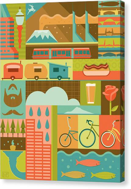 Raining Canvas Print - Iconic Portland by Mitch Frey