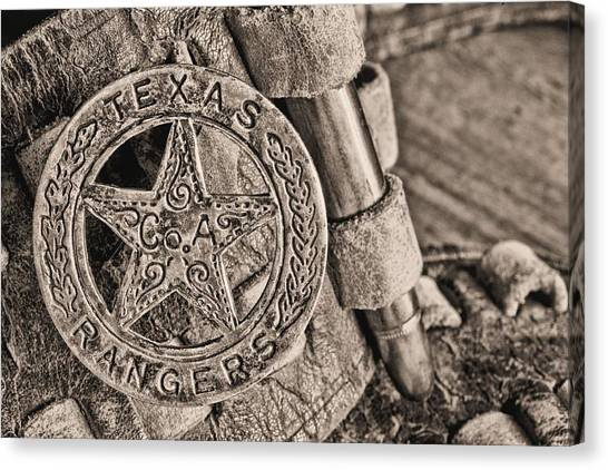 Texas Rangers Canvas Print - Iconic Texas Bw by JC Findley