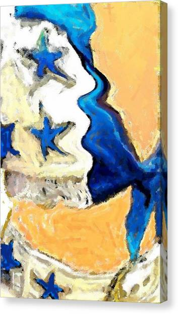 Dallas Cowboys Cheerleaders Canvas Print - Iconic Uniform by Carrie OBrien Sibley