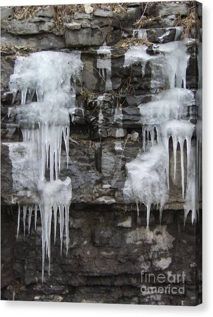 Icy Ledges Canvas Print by Margaret McDermott