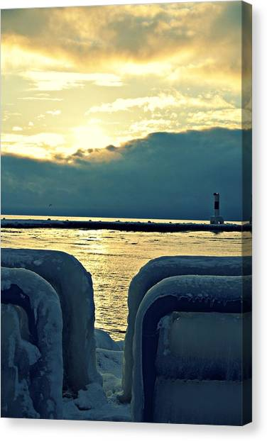 Michigan Canvas Print - Icy Path by Dawdy Imagery