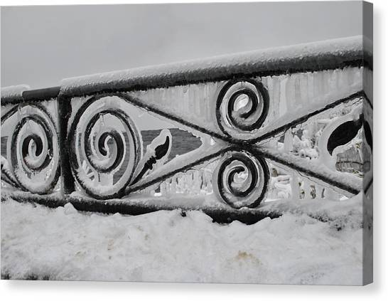 Icy Railing Canvas Print by Mark Alan Perry
