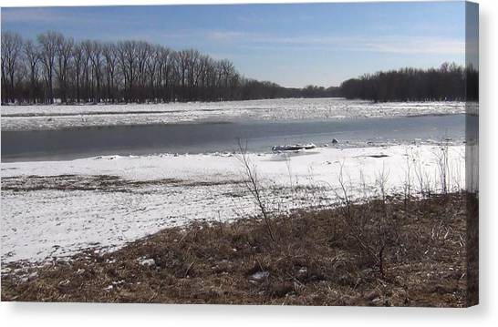 Icy Wabash River Canvas Print
