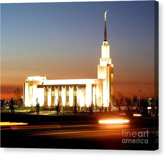 Twin Falls Temple At Night Canvas Print by Jenny Wood