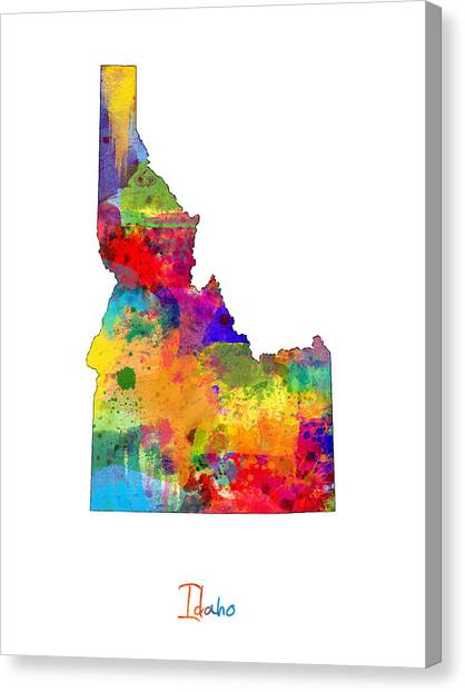 Idaho Canvas Print - Idaho Map by Michael Tompsett