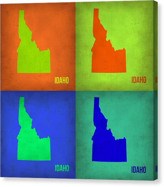Idaho Canvas Print - Idaho Pop Art Map 1 by Naxart Studio