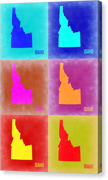 Idaho Canvas Print - Idaho Pop Art Map 2 by Naxart Studio